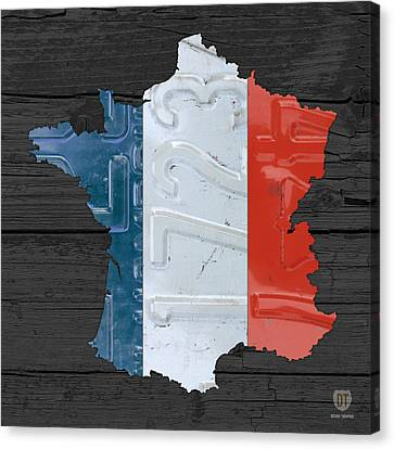 Map Of France Plus French Flag License Plate Art On Gray Wood Board Canvas Print by Design Turnpike