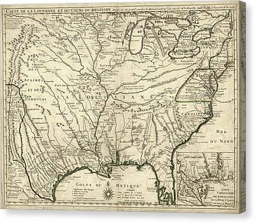 Map Of French Louisiana Canvas Print