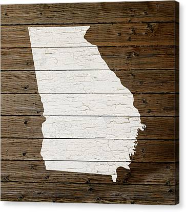 Map Of Georgia State Outline White Distressed Paint On Reclaimed Wood Planks Canvas Print