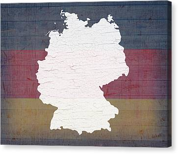 Map Of Germany In White Old Paint On German Flag Barn Wood Canvas Print by Design Turnpike