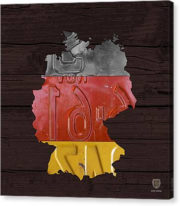 Map Of Germany Plus German Flag License Plate Art On Gray Wood Board Canvas Print by Design Turnpike