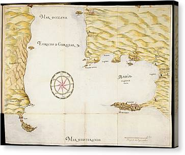 Map Of Gibraltar Canvas Print by British Library