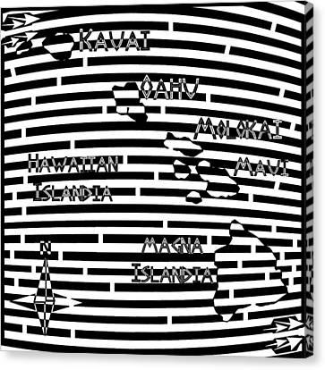 Map Of Hawaii Maze Canvas Print by Yonatan Frimer Maze Artist