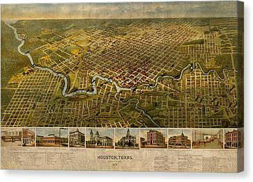 Map Of Houston Texas Circa 1891 On Worn Distressed Canvas Canvas Print by Design Turnpike