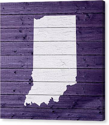 Map Of Indiana State Outline White Distressed Paint On Reclaimed Wood Planks Canvas Print by Design Turnpike