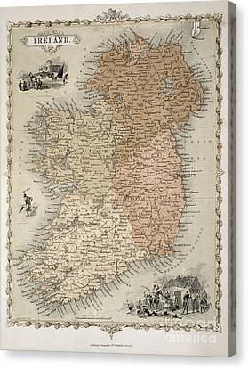 Map Of Ireland Canvas Print by C Montague