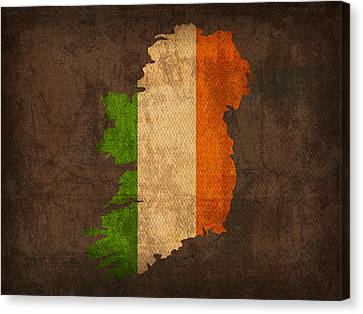 Map Of Ireland With Flag Art On Distressed Worn Canvas Canvas Print by Design Turnpike