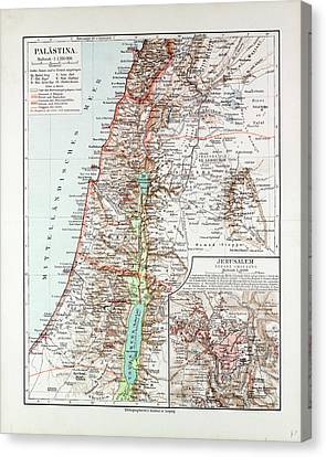 Map Of Israel Jerusalem The Southern Part Of Syria Lebanon Canvas Print
