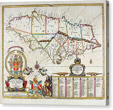 Map Of Jamaica - 1672 Canvas Print by Charlie Ross