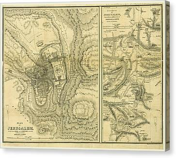 Map Of Jerusalem, Biblical Researches In Palestine Canvas Print