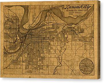 Map Of Kansas City Missouri Vintage Old Street Cartography On Worn Distressed Canvas Canvas Print