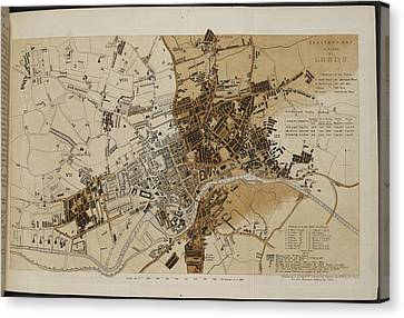 Map Of Leeds Canvas Print by British Library