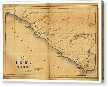 Map Of Liberia Canvas Print by Library Of Congress, Geography And Map Division