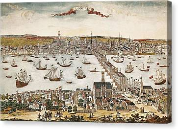 Londoners Canvas Print - Map Of London In 18th C. Engraving. � by Everett