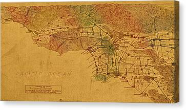 Map Of Los Angeles Hand Drawn And Colored Schematic Illustration From 1916 On Worn Parchment Canvas Print by Design Turnpike