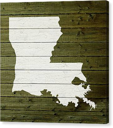 Map Of Louisiana State Outline White Distressed Paint On Reclaimed Wood Planks Canvas Print