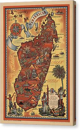 Map Of Madagascar 1952 Canvas Print