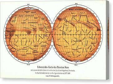 History Of Science Canvas Print - Map Of Mars by Detlev Van Ravenswaay
