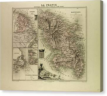 Terra Canvas Print - Map Of Martinique French Guiana And Terra Nova 1896 by English School