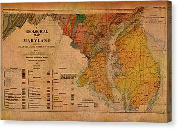 Map Of Maryland Geological 1897 Canvas Print by Design Turnpike
