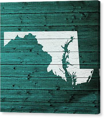 Map Of Maryland State Outline White Distressed Paint On Reclaimed Wood Planks Canvas Print by Design Turnpike