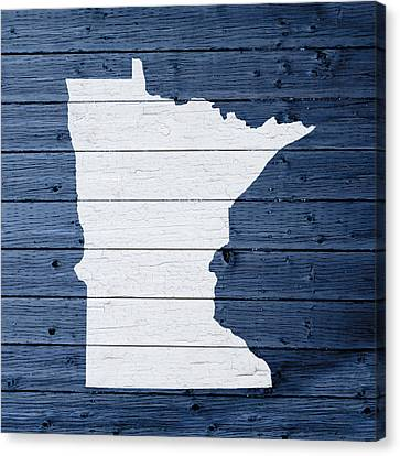 Map Of Minnesota State Outline White Distressed Paint On Reclaimed Wood Planks Canvas Print by Design Turnpike