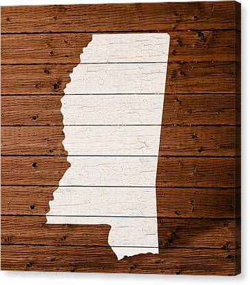 Map Of Mississippi State Outline White Distressed Paint On Reclaimed Wood Planks. Canvas Print