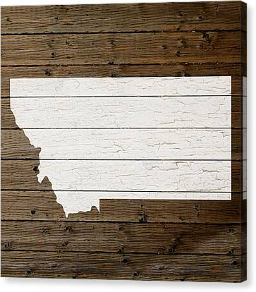 Map Of Montana State Outline White Distressed Paint On Reclaimed Wood Planks Canvas Print by Design Turnpike