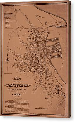 Map Of Nantucket 1834 Canvas Print by Andrew Fare