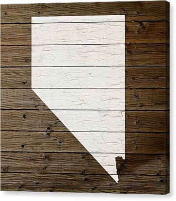 Map Of Nevada State Outline White Distressed Paint On Reclaimed Wood Planks Canvas Print