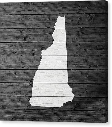 Concord Canvas Print - Map Of New Hampshire State Outline White Distressed Paint On Reclaimed Wood Planks by Design Turnpike