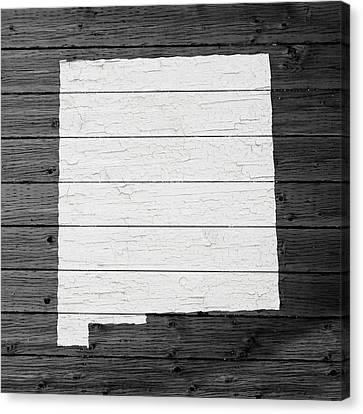 Map Of New Mexico State Outline White Distressed Paint On Reclaimed Wood Planks Canvas Print by Design Turnpike