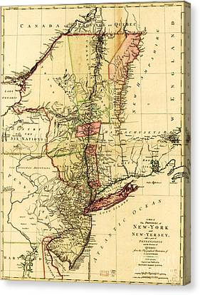 Map Of New York And New Jersey Canvas Print by Pg Reproductions