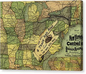 Map Of New York Central And Hudson River Railroad Routes 1876 Canvas Print by Mountain Dreams