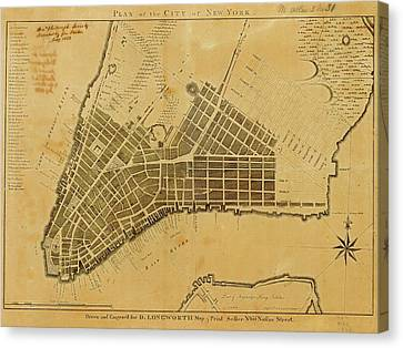 Map Of New York City Canvas Print by American Philosophical Society