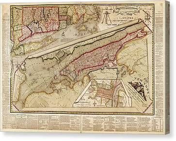 Map Of New York City Canvas Print by Library Of Congress, Geography And Map Division