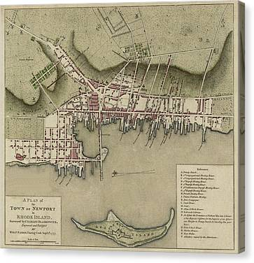 Rhode Island Map Canvas Print - Map Of Newport 1777 by Andrew Fare