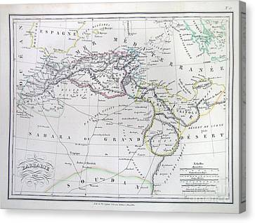 Map Of North Africa Or Barbary Canvas Print by Paul Fearn