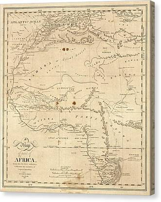 Map Of North-western Africa Canvas Print by Library Of Congress, Geography And Map Division