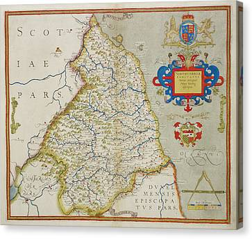 Map Of Northumbria Canvas Print by British Library