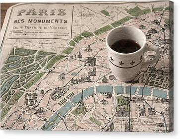 Canvas Print featuring the photograph Map Of Paris And Demi Tasse by Brooke T Ryan