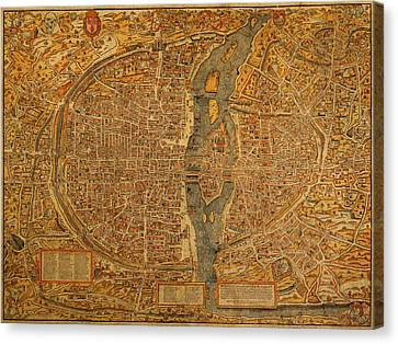Map Of Paris France Circa 1550 On Worn Canvas Canvas Print by Design Turnpike