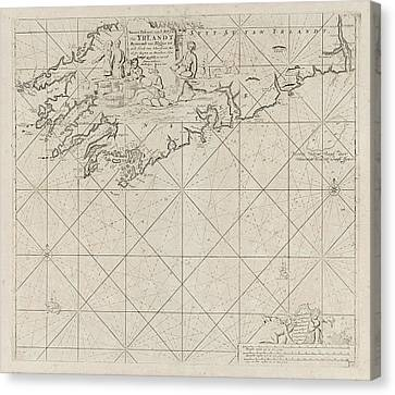 Map Of Part Of The South Coast Of Ireland Canvas Print by Jan Luyken And Anonymous And Johannes Van Keulen I