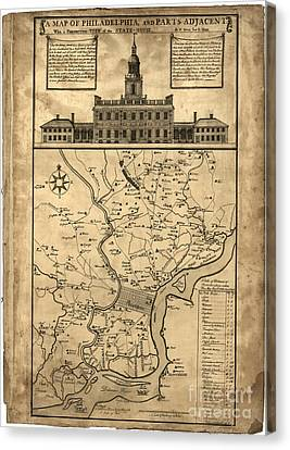 map of Philadelphia and parts adjacent - 1752 Canvas Print by Pablo Romero