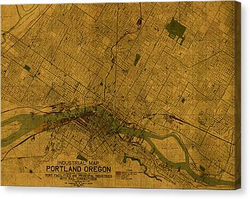 Map Of Portland Oregon City Street Schematic Cartography Circa 1924 On Worn Parchment  Canvas Print by Design Turnpike