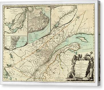 Map Of Quebec 1776 Canvas Print by Andrew Fare