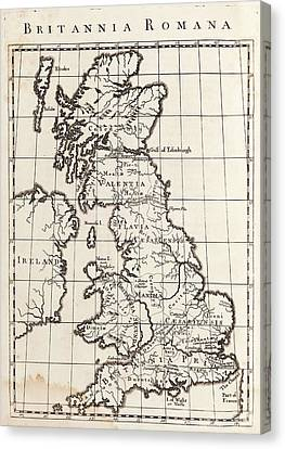 Map Of Roman Britain Canvas Print by Middle Temple Library