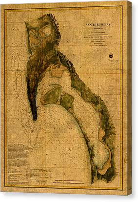 Map Of San Diego Bay California Circa 1857 On Worn Distressed Canvas Parchment Canvas Print by Design Turnpike