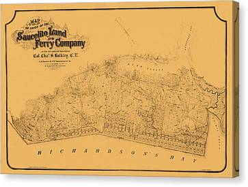 Map Of Sausalito 1868 Canvas Print by Andrew Fare