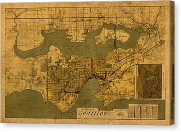 Map Of Seattle Washington Vintage Old Street Cartography On Worn Distressed Parchment Canvas Print by Design Turnpike